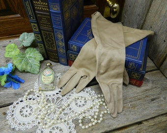 Vintage Mid Century Textured Long Tan Evening Gloves