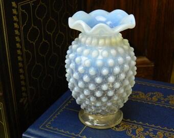 Vintage Fenton White Moon Glass Hobnail Ruffled Edge Vase
