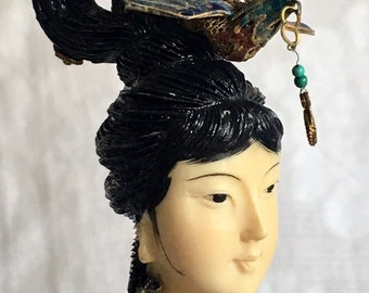 Rare Vintage Chinese Cloisonne Lady Statue Figurine of Gilt Metal Body and Carved Highlight Hair