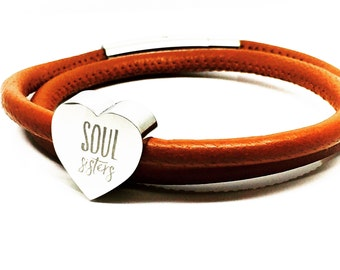 Personalised Leather Bracelet | Soul Sisters | Double Wrap Leather Bracelet | Womens Gift | Gift Ideas for Her | Custom Heart Bracelet