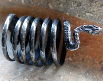 Very Rare Antique European Celtic Silver Ring Coiled Serpentine Deity 'Marcomanni Tribe' – North of Danube -  Bohemia Circa: 2nd Century AD
