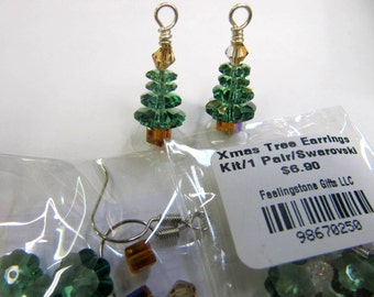 Christmas Tree Swarovski Earrings Kits, Make Your Own, Christmas Tree, Holiday Special, You Make Or I make For You, Green