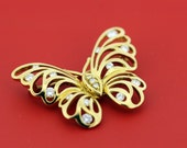 18K diamond butterfly brooch