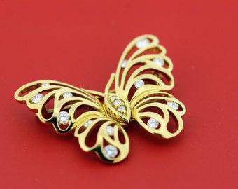 18K diamond butterfly brooch