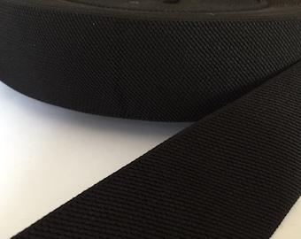 2 inch heavy black elastic webbing