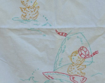 Vintage Hand Embroidered Baby Blanket Lightweight Flannel Blanket Swimming Sailing Ducks