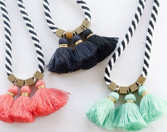 Black and White Rope tassel Necklace