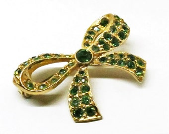 Green Brooch - Vintage, Gold Tone, Emerald Green Colored Rhinestones, Bow Pin
