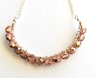 Copper curved bar necklace