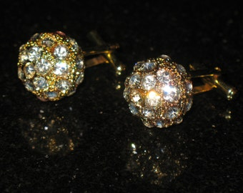 Vintage Disco Ball Pave Rhinestone Gold Tone Cuff Links
