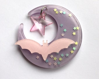 Moon and Bat with Star Charm Hair Clip (pink and purple)
