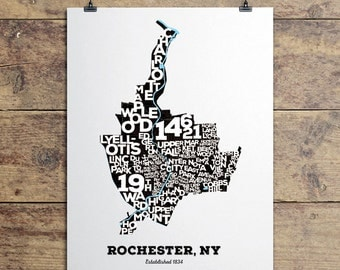 Rochester, NY Neighborhoods Art Print