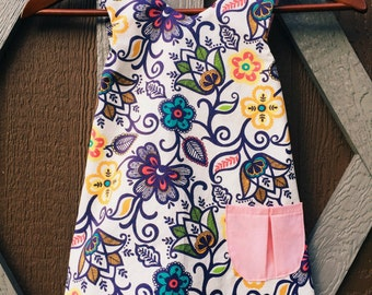 Girls purple and pink top, pinafore top, tunic