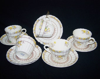Vintage Spode Buttercup Coffee cups and saucers, set of 5