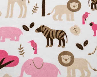 Jungle Animal Minky Fabric by the Yard White Pinks Brown Multi Animal Shannon Fabrics One Yard or More Girl Minky Cuddle Fabric