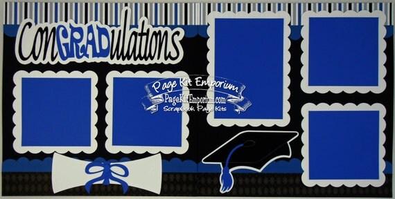 Scrapbook Page Kit Graduation Royal Blue School Boy Girl 2