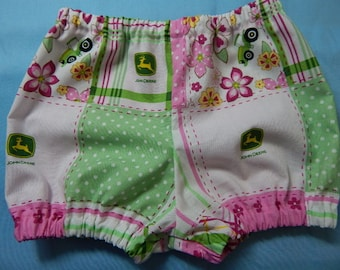 diaper cover or shorts**** pink and green john deere diaper cover****cake smash photo prop