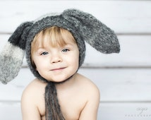 baby boy or girl 6-12 months bunny hat, bonnet , photo prop
