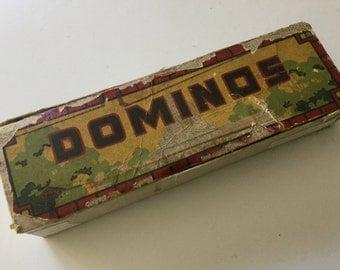 30s antique dominos game in box