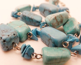 Sterling Silver Long Length Turquoise Stone Necklace