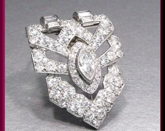 Antique Vintage Art Deco Platinum Triangular Marquis and Round Diamond Pin Pendant Brooch - P 505S