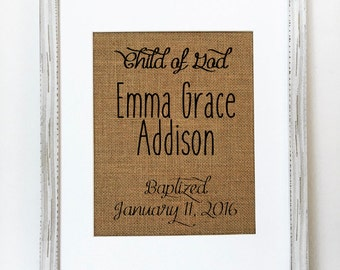 Custom Order Baby baptism - Name & Date - baby dedication ceremony - baby announcement date Name -Baby Room Nursery - Burlap Sign - Personal