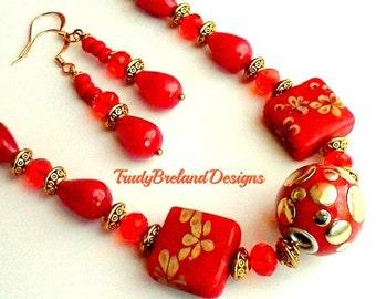 Red Jade Necklace and Earrings, Genuine Red Jade Jewelry, Genuine Gemstone Red Jade,