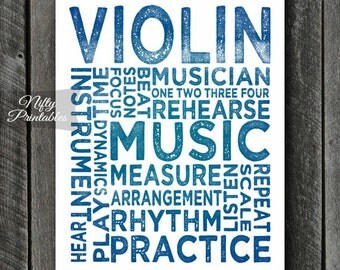 Violin Art - INSTANT DOWNLOAD Violin Poster Print - Typography Music Poster - Violin Gifts - Music Wall Art - Violin Print - Music Gifts