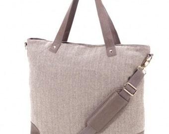 Personalized Herringbone Shoulder Canvas Tote Bag