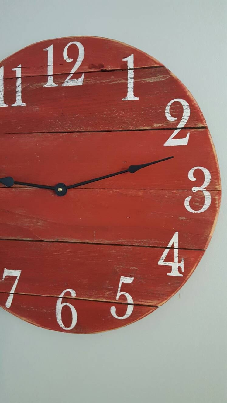 Red clock farmhouse clock reclaimed clock small wood clock wall gallery photo gallery photo gallery photo gallery photo gallery photo amipublicfo Image collections