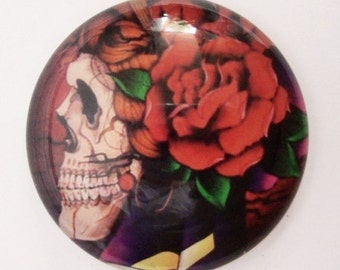 Gypsy Rose Skull Dome Glass Cabochon 25mm