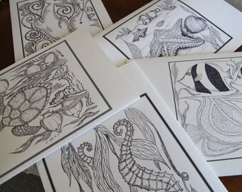 Sea Life Coloring Cards