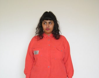 Tangiers Workers Organizer Orange Corduroy Button Down