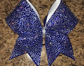 Rhinestone cheer bow, royal blue bling glitter bow