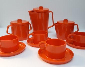 1960s 1970s Melotoys chilldren's orange melamine tea service