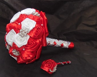 Emergency Made to order Satin Flowers Brooch Bouquet,Bridal Wedding Flowers, Jewelry Set