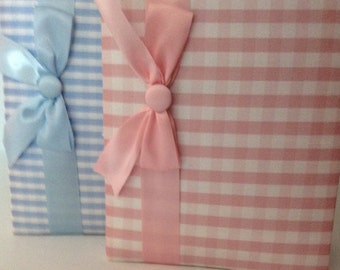 Dupioni Silk  Covered Photo Brag Book!!   Great for Mom or Grandma!!!  Pink or Blue Checked Fabric with Ribbon