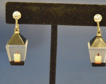 Vintage Lucite Lantern Screw Back Earrings