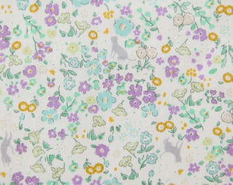 Cotton Fabric Floral Lavender By The Yard