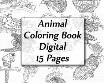 Adult Coloring Book Animals Digital Instant Download 15 pages