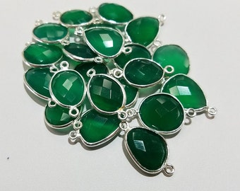 Sterling Silver Free Form Green Agate Bezel Connector, Sterling or 18K Vermeil