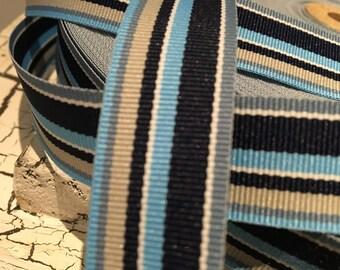 "3 YARDS 7/8"" Preppy Blue STRIPE Grosgrain Ribbon"