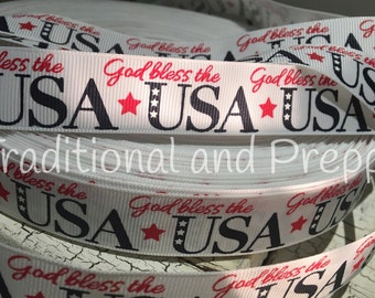 "3 yards 7/8"" God Bless America USA Patriotic July 4 Grosgrain"