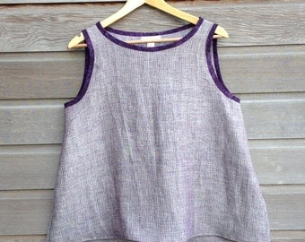 Womens minimalist top 100% linen / Boat-neck swing top / Loose aline fit / Sleeveless linen tank / Made to order / Sizes XS-XXL
