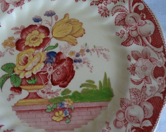 """CODE: MOVINGSALE 35% OFF Royal Doulton's """"Pomeroy"""" 10 3/8 inch Dinner Plate in Multi-Red Transferware. Made in England."""