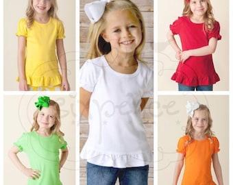 UPGRADE | Girl's Short Sleeve Ruffle Shirt | Colored Shirt | Ruffle Shirt Upgrade | Purchase Must Accompany A Sixpence Design | NOT A BLANK