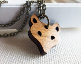 Fantastic fox necklace | Wooden jewellery | Woodland animal accessories | Wood Jewellery | Statement necklace | Simple modern shape