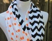 Cincinnati Bengals Tennesee orange polka dots black chevron infinity scarf Fall scarves colorblock infinity long scarf loop scarf
