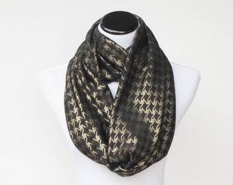 Infinity scarf black gold houndstooth jersey knit scarf golden sparkle loop scarf circle scarf - birthday gift for her, gift for mom