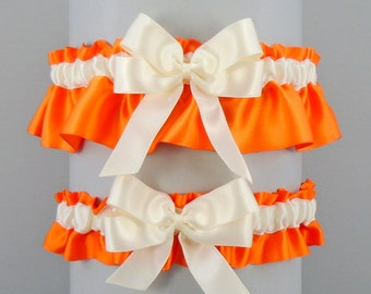Wedding Garter Set Orange Garters with Ivory or White trim and double loop bow, Simply Satin (May also be purchased individually)
